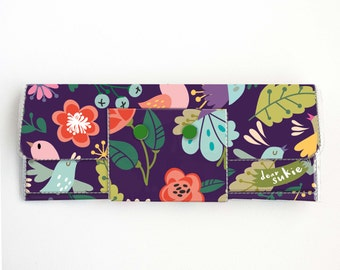Handmade Vinyl Long Wallet - Gentle, bird wallet, purple, floral, vegan, large wallet, clutch, zipper, card case, vinyl wallet, flowers,