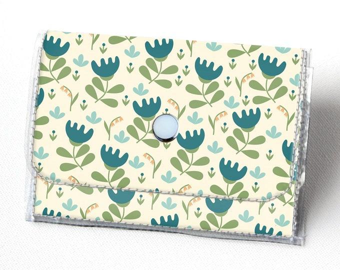 Handmade Vinyl Accordion Wallet - Scandinavian Summer 3/ folk, floral, small wallet, snap, cute, card case, vinyl wallet, women's wallet,