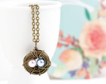 Gift for Mom - Expectant Mom - Blue and PInk Eggs - Bird Nest Necklace - Two Three Four Eggs - Gift For Her - Gold Nest Necklace