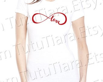 Infinity Love Shirt Graphic Tee Red Black and White T-shirt for girls, teens, women