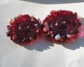 """Handmade Glass Lampwork disc disk Beads """"Berry"""" filler focal glass art"""