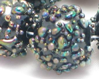 Handmade Glass Lampwork Beads, focal filler art bead Black/Multi 11mm round