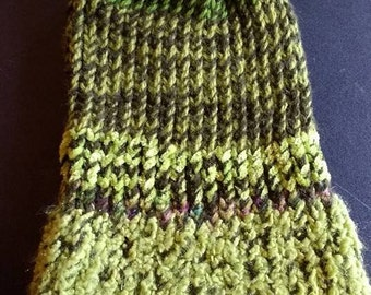 SPRING CLEARANCE SALE!!  Super Slouchy style warm winter hat ooak hand knitted greens
