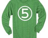 Fifth Birthday Long Sleeve Heather Green Kids T-Shirt