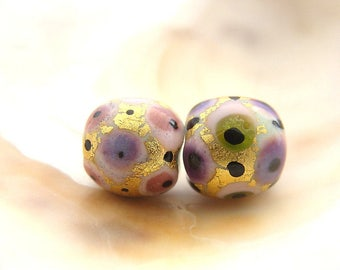 Mini Golden Bead Pair Handmade Lampwork