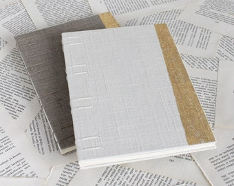 Large Coptic Bound Gold and Linen Wedding Guest Book in White or Natural Linen
