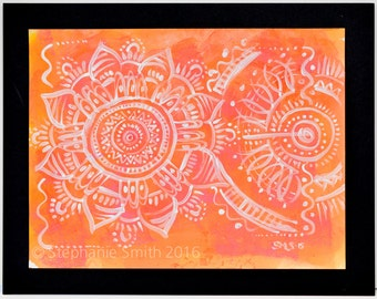 Original Expressive Mandala Painting: Orange Glory