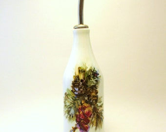 Hand Painted Oil Bottle- Original Christmas Holiday Home Decor- Winter Seasonal Tableware