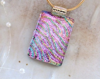 Pink Necklace, Dichroic Pendant, Glass Pendant, Fused Glass Jewelry, Gold, Necklace Included, A7