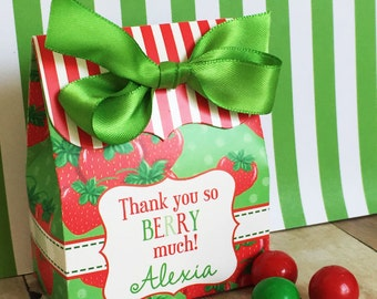 Strawberry Birthday Party, Personalized favor Box,Strawberry Favor box,Strawberry party favors, Candy Buffet box, Birthday party, Treat box