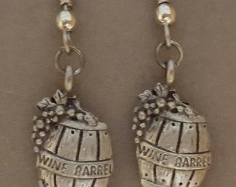 Wine Barrel Earrings Pewter