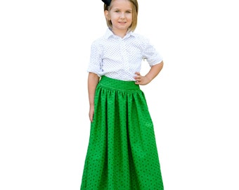Child Maxi, Midi and Knee Length Skirt PDF Sewing Pattern, The Schatje Skirt Sized 1 to 12