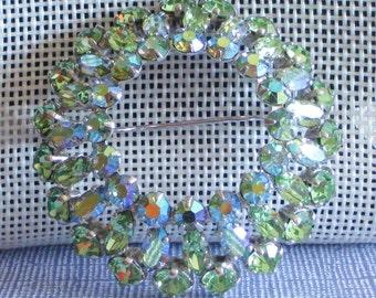 Vintage Sherman Green Rhinestone Brooch, Light Green Rhinestone Jewelry, Lime Green Pin, Wreath Brooch, 60s Jewelry