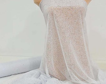 French Stretch Mesh Glittered , 4 ways , White , 60 inches, dance, gymnastics, formal wear, evening wear,