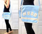 1990's MUDD Messenger Bag / 90's kid purse / Nostalgia / Light Blue / Baby Blue / Cell Phone Holder / Athletic / Shoulder Strap Bag