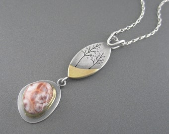 Handmade Woodland Dreamers Mixed Metal Sterling Silver, Yellow Gold, Thomsonite