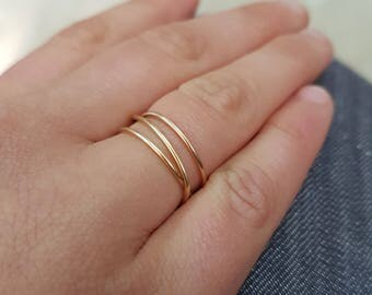 Gold wrap ring, 14K Gold Fill Wraparound ring, gold fill wrap ring, gold stack ring, gold infinity ring