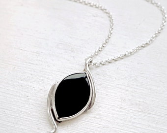 Black Onyx necklace, Sterling Silver, Navette gemstone, one of a kind