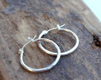 Small Sterling silver hoop earrings - Silver Click Latch Hoop Earrings