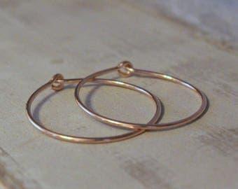 Rose Gold Hoop Earrings - One inch rose gold filled hoop earrings