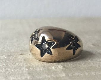SALE- Champagne Diamonds and Bronze Star Ring