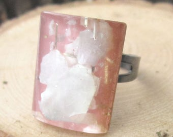 Neige Rose Ring - Vintage repurposed 1960's pink and clear resin gem with shell flecks on gunmetal adjustable ring - Free Shipping to USA