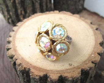 Wondrous Ring - 1950s vintage repurposed iridescent crystal gem cluster on gunmetal adjustable ring - Free Shipping to USA