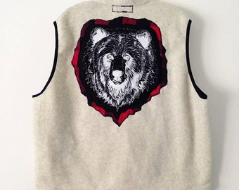 Men's Upcycled Woolrich Vest With Grizzly Patch And Buffalo Check Applique XL