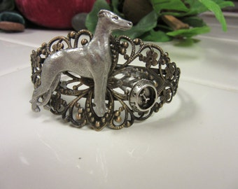 Lovely Whippet Antiqued Brass and Lead Free Pewter Cuff Bracelet with Feeding Bowl;
