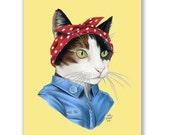 Feminist Cat Limited Edition Print 8x10 - Ryan Berkley Illustration