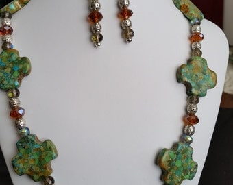 Necklace and earrings set- green turquoise,