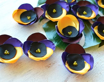 Fabric flower appliques, satin flower embellishment, floral supply, fabric flowers for crafts, silk flowers (10pcs) PURPLE YELLOW PANSIES