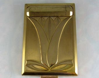 Vintage 1930s Richard Hudnut Art Deco Compact Lipstick Powder Rouge Brass with Signed Back Tulip Design Original Pieces