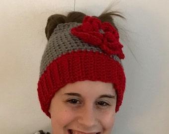 Crochet Messy Bun Beanie Red and Grey