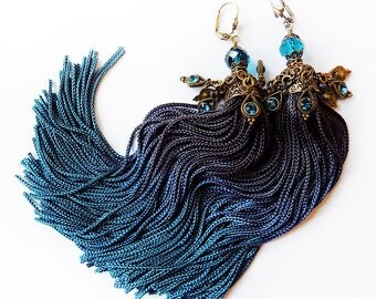 Tassel jewelry, Tassel earrings,  Peacock Blue Earrings, Long Tassels, Long Earrings, Boho Earrings, Gypsy earrings, Jhumka
