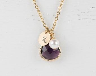 Personalized February Birthstone Gold Necklace, Amethyst Necklace, February Birthday Jewelry, Personalized Gold Necklace  #877