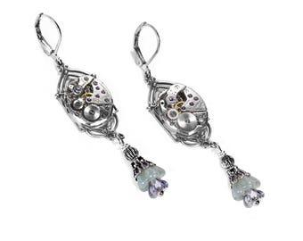 Steampunk Jewelry Steampunk Earrings Vintage Silver ART DECO Watch Light JADE Crystal Dangle Earrings Mothers Day - Jewelry by edmdesigns