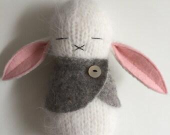 White Cream Little bunny With Gray Cashmere Sweater Cape
