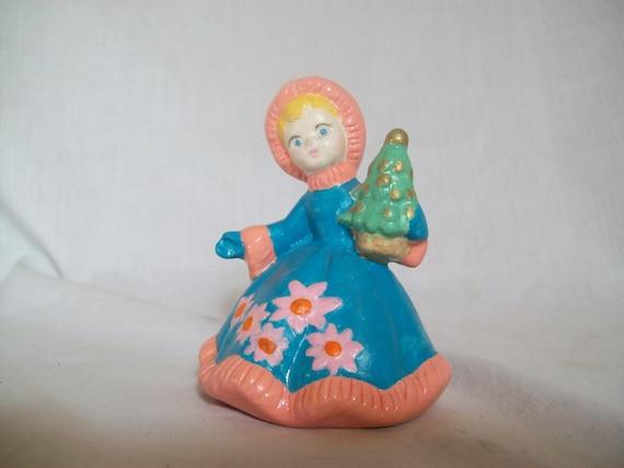 Christmas Girl, Christmas Figure, Girl Figurine, Blue, Pink figurine, Girl Holding Christmas Tree, Winter Figure, Ceramic, Gift, Girl Gift