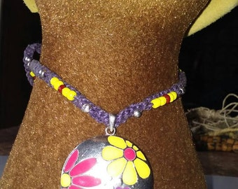 Hemp Macrame Necklace, Purple Cord with large Multi Color Daisy Flower Pendant and Alligator Clamp Clasp