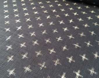 Sevenberry cross kasuri-print pattern navy indigo blue Japanese cotton fabric