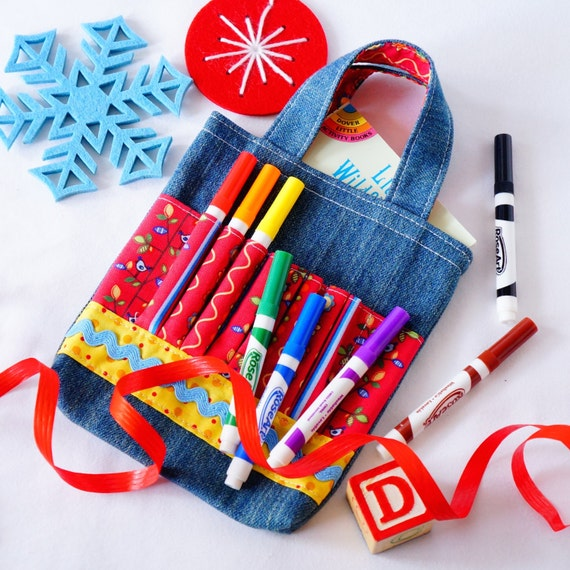 Crayon Tote • Crayon Bag • Coloring Bag • Art Tote • Crayon Holder • Crayon Roll • Flower Girl • Busy Bag • ARTOTE MINI • Bird in the Hand