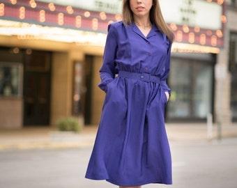 ON SALE Vintage Violet Belted Shirt Waist Dress (Medium)