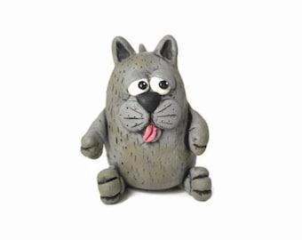 Fat Cat, Cat Collectible, Clay Cat, Cat Art, Cat Sculpture, Cat Decor, Cat Gift