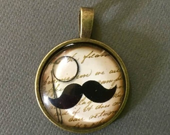 Steampunk pendant monocle mustache  Bronze dish with glass dome loop at top (AAA6)