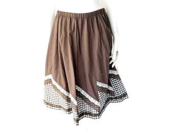 Vintage Little House Creations Skirt// Prairie Boho Small Skirt // Brown Plaid Lace Skirt// Size S // 138