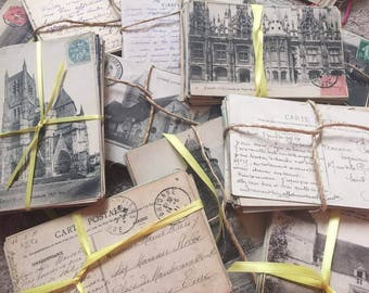 Antique French Post Cards Postcards Paris 30 Pc Written Some Stamps