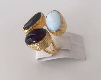 Triple Gold plated  Cateye and  Amethyst  ring