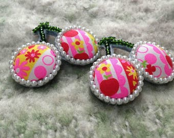 Cherry pearl beads brooch