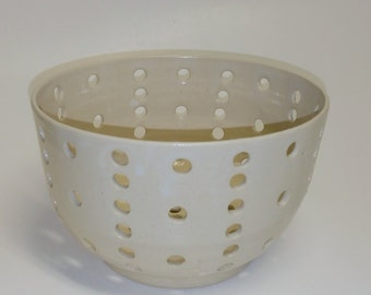 White Berry Bowl Perfect Size for Blueberries - Wheel Thrown and Altered Pottery